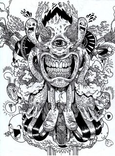 different type of bizzare shirt designs or sticker designs . all done in ink and pigment pens on A4