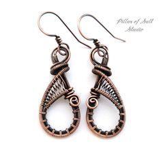 leaf motif earrings~sterling silver copper handmade dangle earrings ...