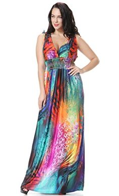 Kokoda Womens Plus Size Maxi Print Tank Summer Beach Dresses 2XL Blue *** More info could be found at the image url.