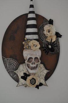 3D Altered Art Skeleton Head Halloween Wall by freedomdivine, $68.00