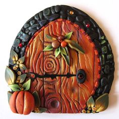This Etsy shop is amazing. ♥ Autumn Fairy Door by Claybykim on lEtsy, Polymer Clay Fairy, Polymer Clay Creations, Polymer Clay Crafts, Fairy Garden Doors, Fairy Doors, Fairy Gardens, Clay Fairy House, Fairy Houses, Pottery Houses