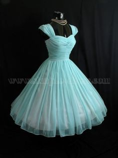 Simple-dress 1950s Vintage Turquoise Short Chiffon Capped Sleeve  Prom Dresses/Homecoming Dresses/Party Dresses CHHD-70703