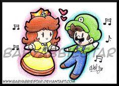 LxD: Lovey-Dovey Dance by BabyAbbieStar on DeviantArt Mario And Princess Peach, Princess Daisy, Luigi And Daisy, Mario And Luigi, Lovey Dovey, Super Mario Bros, Zine, My Childhood, Bowser