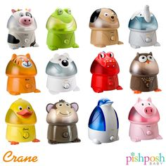 Once upon a time, there were 12 adorable animals who provided congestion relief and comfort for children everywhere. $39.99! Disclaimer: NO ADORABLE ANIMALS WERE HARMED IN THIS PHOTO.  http://www.pishposhbaby.com/crane-adorable-cool-mist-humidifiers.html