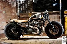 2009 Harley Davidson Sportster 883 by Kiddo Motors (Vance & Hines Exhaust, Roland Sands Handlebars & Headlight Relocation)