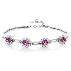 440 Ct Pink Created Sapphire 925 Sterling Silver Bracelet 7 with 1 Extender * More info could be found at the image url.