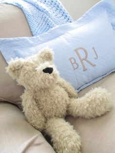 Project Nursery - Gray Baby Boy Nursery Monogrammed Pillow