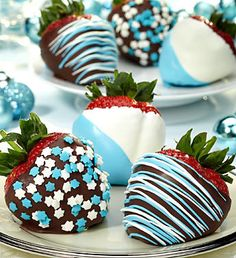 Send blue and white chocolate covered strawberries for Hanukkah! Starting at 24.99!