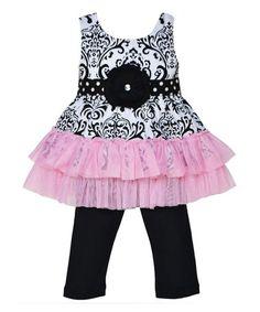 Look at this #zulilyfind! Pink & Black Liza Tunic & Pants - Infant, Toddler & Girls #zulilyfinds
