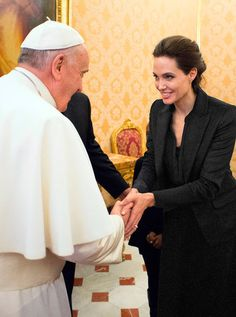 #AngelinaJolie at a #PapalAudience in January.