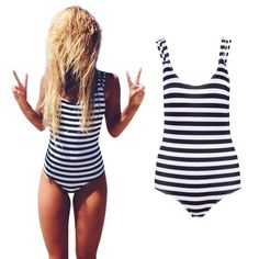 Newest Striped High Neck Halter Hollow Out One Piece Swimsuit Women 2016 Bathing Suits Sexy Beach Bodysuit Bandage Swimwear LC85 >>> Check out this great product.