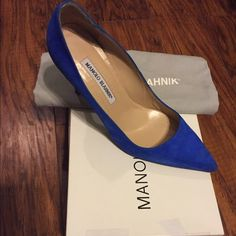 Manolo Blahnik Heels Beautiful Electric Blue *Lightly Worn* Heels. They are super comfortable and vibrant. Killer shoe!!  **NO TRADES** Bring best offer to the table!! Manolo Blahnik Shoes Heels