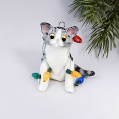 Exotic Shorthair Cat Ornament Cat Christmas Ornaments, Christmas Cats, Exotic Shorthair, Biscuit, Fondant, Disney Characters, Fictional Characters, Porcelain, Clay