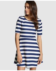 Vestido blanco rayas azules