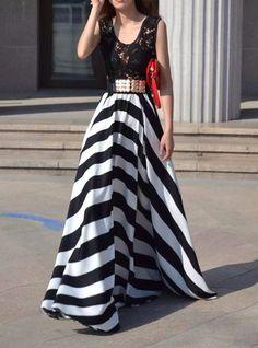Hollow Out Design Striped Sleeveless Scoop Neck Floor-Length Dress For Women