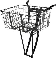"""$38 Wald 157B Front Bicycle Giant Delivery Basket, 21"""" x 15"""" x 9"""", Black.  3 holes at the bottom of the legs and spaced at 13.25, 14.25, and 15.25"""" (measured center-to-center of bracket pin to axle mount) to provide multiple mounting options. Gloss Black color. The Giant Delivery basket is one of the most iconic products in Wald line. Popular among messengers + paper carriers this basket is designed to carry large loads with its stout legs, cargo bands, + heavy duty handlebar clamps."""