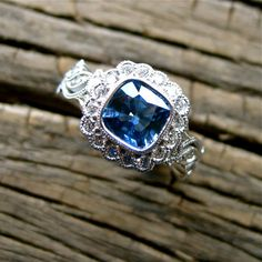 Cushion Cut Blue Sapphire & Diamond by AdziasJewelryAtelier