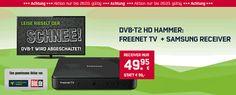freenetTV mit Receiver Samsung Media Box Lite freenet TV schwarz für einmalig 49,95€ statt 99,00€ bestellen mit freenet TV Kostenloser Zeitraum 4 Monate, jedoch mindestens bis zum 31.07.2017 Leistungen danach für 5,75€/Monat Grundgebühr.