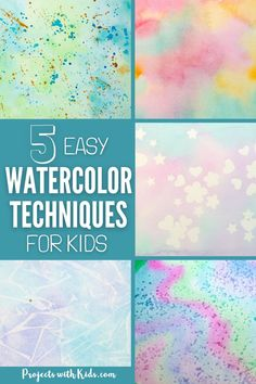 These easy watercolor techniques for kids are perfect for all ages and offer endless possibilities for creativity and fun. Kids will love exploring these watercolor painting ideas that produce magical and unexpected results! Watercolor Projects, Easy Watercolor, Watercolor Techniques, Art Techniques, Watercolor Painting, Kids Painting Activities, Painting For Kids, Kids Art Space, Art For Kids