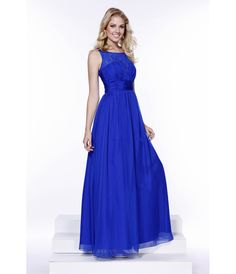 Arrive to prom looking like royalty in this royal blue chiffon gown. Featuring a sleeveless, sweetheart underlay neckline, with lace detailing around the neck, this dress is sure to make you stand out from the crowd! This style is complete with a chiffon skirt and back zipper closure.