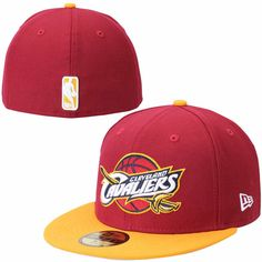 * Mens Cleveland Cavaliers New Era Red/Gold Team Logo 59FIFTY Fitted Hat, Your Price: $34.99