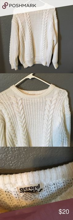 Vintage Knit Sweater ❄️ Cozy knit sweater from the 80s to keep you warm this winter! Brand is Gerard Works. A little pilling on the collar (third pic) but barely noticeable. Otherwise in great condition. PLEASE READ THE ENTIRE DESCRIPTION BEFORE PURCHASING! 🚫 NO TRADES. NO HOLDS. NO MERC@RI 🚫📩 I only respond to offers made through the offer button 📩  🙋🏼Questions? Just ask! Serious inquiries only please. EVERYTHING MUST GO!! 💁🏼 Vintage Sweaters Crew & Scoop Necks