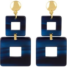 Henri Bendel Valet Toucan Square Linear Earring (£91) ❤ liked on Polyvore featuring jewelry, earrings, navy, navy blue jewelry, square earrings, square hoop earrings, hoop earrings and henri bendel jewelry