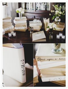 This is a fabulous way to use books throughout the venue. They can be customized to say anything the couple desires.