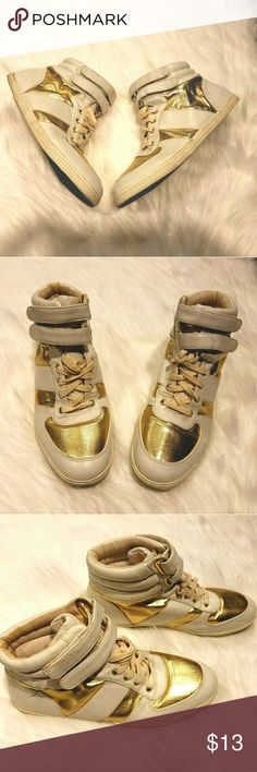 Aldo White & Gold Sneakers Gently used gold & white sneakers, in great condition. Aldo Shoes