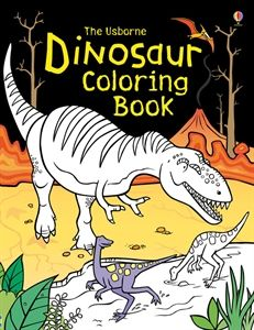 Prehistoric scenes to color, simple step-by-step instructions for drawing dinosaurs, nice thick paper for watercolor painting or markers.  Usborne Books & More $5.99  L1982.myubam.com