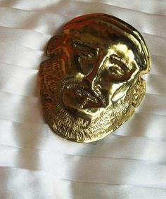 Brooch of brass. Face of Agamemmnon. Metal Working, Brass, Brooch, Face, Faces, Copper