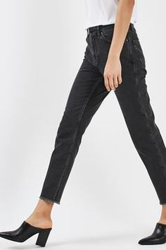 Washed Straight Leg Jeans by Boutique