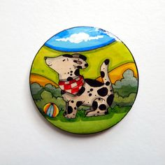 Dog with Ball  Hand painted wooden brooch or by JaneGiunchi