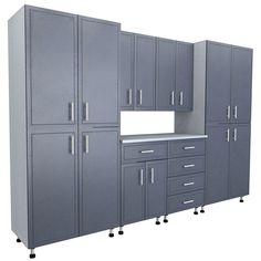 This storage system makes a great addition to your garage or other storage space. The nine-piece kit in total includes two four-door storage cabinets, two two-door wall cabinets, one four-door base cabinet Garage Storage Units, Garage Shelving, Door Storage, Closet Storage, Storage Systems, Tall Cabinet Storage, Locker Storage, Garage Organization, Organizing