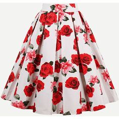 SheIn(sheinside) All Over Rose Print Box Pleated Skirt (€17) ❤ liked on Polyvore featuring skirts, red skirt, red a line skirt, box pleat skirt, red knee length skirt and a line skirt
