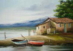 oil on canvas Graciela Valdez River Painting, Sailboat Painting, Boat Art, Landscape Paintings, Oil On Canvas, Watercolor Paintings, Modern Art, Thomas Kinkade, Scenery