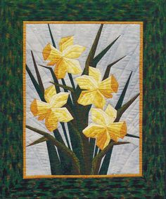 "- Daffodils - Foundation Paper Piecing Pattern - 28"""" x 34"""" Quilt - This beautiful Foundation Paper Piecing pattern was designed by Eileen Bahring Sullivan and is a stunning quilt to piece. Makes a b"