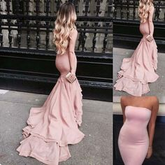 Elegant Long Prom/Evening Dress - Blush Mermaid Strapless for Party