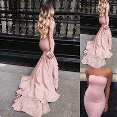 Elegant Long Prom/Evening Dress - Blush Mermaid Strapless for Party