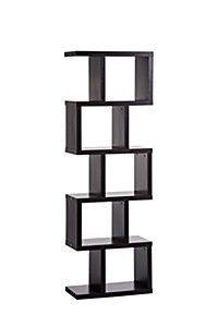 With its attention grabbing design, the Petrolina Z-Shelf from Manhattan Comfort is ideal in your home for displaying ornaments, pictures, books, and treasured souvenirs. The clean style bookcase offers 5 spacious zig zag cubbies plus 5 open shelves. Wall Shelf With Drawer, Drawer Shelves, Bookcase Shelves, Wall Shelves, Book Shelves, Storage Shelves, Small Bookcase, Storage Benches, Wooden Shelves