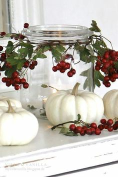 pumpkins & berry greens - tabletop decor