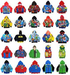 Marvel Batman Spiderman Ben 10 Cartoon Characters Jacket Coat Kids Boys Choose | eBay