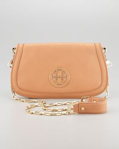 Amanda Logo Clutch, Aged Vachetta #toryburch Cross body bags are so convenient and cute!
