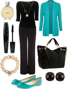 """""""Black & Teal."""" by deannaschieble ❤ liked on Polyvore"""