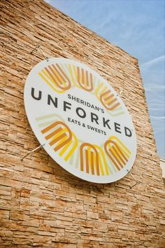 Restaurant branding and collateral for Sheridan's Unforked. Environmental Graphic Design, Environmental Graphics, Restaurant Identity, Restaurant Design, Restaurant Restaurant, Restaurant Seating, Restaurant Website, Organic Restaurant, Wayfinding Signage