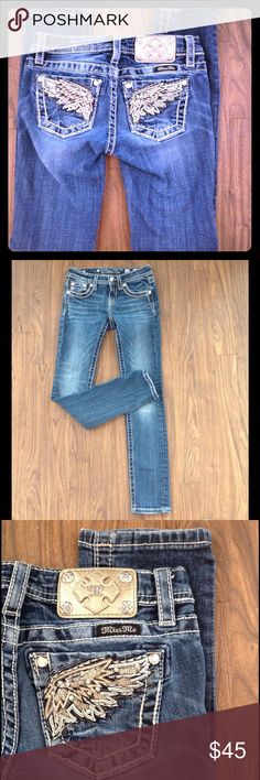 Miss Me jeans skinny denim bling pockets with wing Miss Me jeans. Denim. With wings design on pockets. Wide stitching. Size 12. Skinny.   Good preowned condition. Miss Me Bottoms Jeans