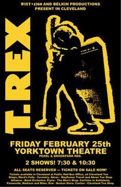 original t rex concert posters Tour Posters, Band Posters, T Rex Band, Vintage Concert Posters, Retro Posters, Vintage Posters, Music Flyer, Marc Bolan, Rock Concert