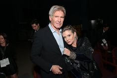 STAR WARS: THE FORCE AWAKENS (2015) ~ Harrison Ford and Carrie Fisher at the world premiere in Hollywood on December 14, 2015.