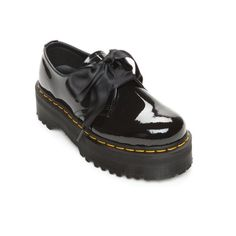 Dr. Martens Black Holly Lolita Shoe - Women's (£115) ❤ liked on Polyvore featuring shoes, black, dr martens shoes, polish shoes, ribbon lace up shoes, kohl shoes and patent shoes
