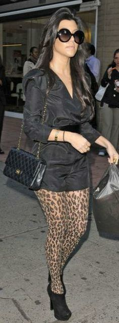 Who made Kourtney Kardashian's black romper, leopard tights, black purse and sunglasses that she wore in New York? Romper – Kardashian Kollection  Tight – Wolford  Purse – Chanel  Sunglasses – Prada  Shoes – Yves Saint Laurent
